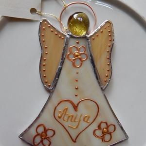 Tiffany angyal nagy méretű, Otthon & Lakás, Dekoráció, Díszüveg, Spektrum üvegből készített kedves ajándéktárgy.  Mérete 15 cm magas, legszélesebb pontja 9 cm. Az ár..., Meska