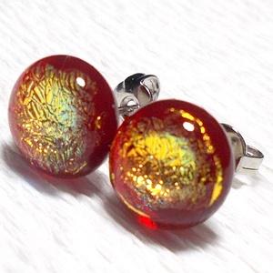 Óarany-piros, üveg fülbevaló, ajándék  névnapra, születésnapra., Ékszer, Baba-mama-gyerek, Ruha, divat, cipő, Fülbevaló, Ékszerkészítés, Üvegművészet, Fusing technikával készült arany dichroic  és  áttetsző piros színű színű ékszerüvegből  olvasztott..., Meska