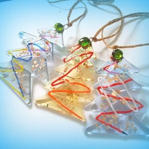 Üveg karácsonyfadísz csomag., Dekoráció, Otthon, lakberendezés, Ünnepi dekoráció, Karácsonyi, adventi apróságok, Mindenmás, Üvegművészet, Olvasztásos technikával készült fenyőfácskák. Különböző színű üvegszálak és aranypehely felhasználá..., Meska