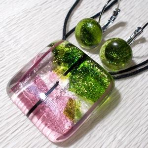 Orgona üvegékszer szett, ajándék nőknek névnapra, születésnapra., Ékszer, Ékszerszett, Nyaklánc, Fülbevaló, Ékszerkészítés, Üvegművészet, Fusing technikával készült, ez a különleges fényű üvegékszer. Átlátszó, csillogó zöld és mályva szí..., Meska