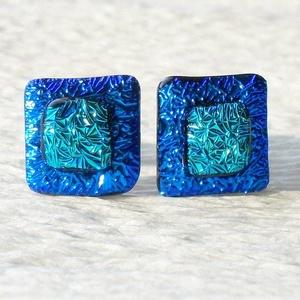 Kék fényjáték, dichroic  fülbevaló, ajándék névnapra, születésnapra., Ékszer, Fülbevaló, Ékszerszett, Medál, Ékszerkészítés, Üvegművészet, Olvasztásos technikával készült fülbevaló. Csúcsminőségű kék és türkiz színű dichroic  üvegből olva..., Meska