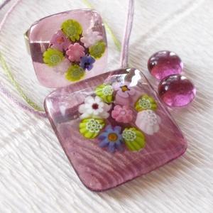 Orgona csokor, üveg medál gyűrű és fülbevaló, ajándék  ballagásra, névnapra, születésnapra. (Dittiffany) - Meska.hu
