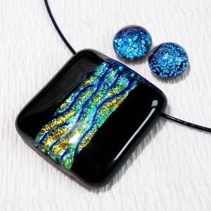 Kék-arany hullámok ékszerszett, ajándék névnapra, születésnapra., Ékszer, Medál, Ékszerszett, Fülbevaló, Ékszerkészítés, Üvegművészet, Olvasztásos technikával készült, csúcsminőségű  kék-arany szivárványos  dichroic  üvegből olvasztot..., Meska