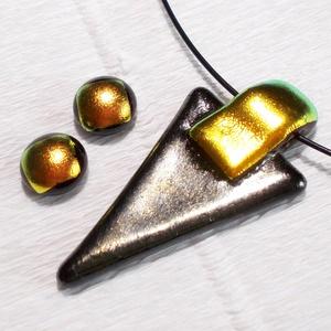 Bronzos- metál  ékszerszett farsangra, névnapra, születésnapra., Ékszer, Nyaklánc, Ékszerszett, Fülbevaló, Ékszerkészítés, Üvegművészet, Olvasztásos technikával készült elegáns medál és fülbevaló. Csúcsminőségű ezüstös-bronzos fénnyel i..., Meska