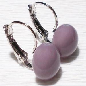 AKCIÓ! Füstös lila üveg fülbevaló, ajándék nőknek névnapra, születésnapra. , Ékszer, Fülbevaló, Lógó fülbevaló, Ékszerkészítés, Üvegművészet, Meska