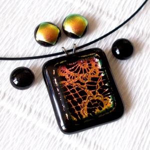 Lazacos arany  csipke mintával, ékszerszett ajándék  névnapra, születésnapra. (Dittiffany) - Meska.hu