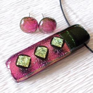 Pink fényjáték, medál és fülbevaló, ajándék nőknek névnapra, születésnapra. (Dittiffany) - Meska.hu