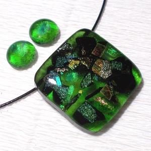 Szivárványos smaragd ékszerszett, ajándék ballagásra, névnapra, születésnapra., Ékszer, Fülbevaló, Ékszerszett, Táska, Divat & Szépség, Ékszerkészítés, Üvegművészet, Fusing technikával készült  csúcsminőségű zöld  és szivárványos  dichroic üvegekből  olvasztottam.  ..., Meska