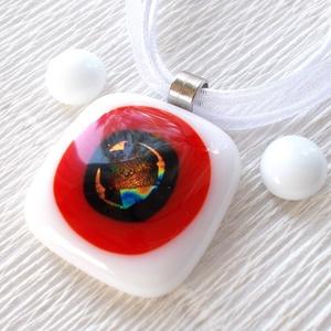 Fehér-piros fúzió, nyaklánc és fülbevaló, ajándék névnapra, születésnapra. - Meska.hu