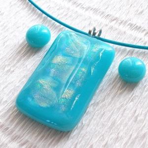 Szivárványos türkiz nyaklánc és fülbevaló, ajándék  lányoknak ballagásra, névnapra, születésnapra., Ékszerszett, Ékszer, Üvegművészet, Ékszerkészítés, Olvasztásos technikával készült medál és fülbevaló.\nTürkiz színű opál és szivárványos dichroic minős..., Meska