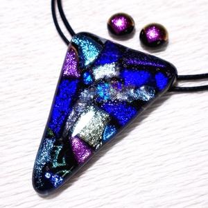 Dichroic kompozíció ékszerszett , ajándék  nőknek, névnapra, születésnapra., Ékszer, Ékszerszett, Ékszerkészítés, Üvegművészet, Fusing technikával készült üvegmedál és fülbevaló.\nCsúcsminőségű csillogó színes dichroic  üvegekből..., Meska