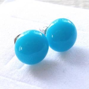 Kék üveg fülbevaló, ajándék  névnapra, születésnapra. (Dittiffany) - Meska.hu