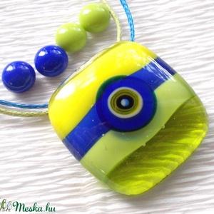 KÉSZLETKISÖPRÉS !  Kék-zöld muránói üvegékszer, ajándék nőknek névnapra, születésnapra., Ékszer, Ékszerszett, Fülbevaló, Medál, Ékszerkészítés, Üvegművészet, Olvasztásos technikával készült üvegmedál és stiftes fülbevalók.\nKék, zöld és sárga színű muránói üv..., Meska