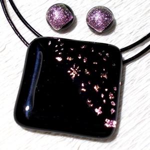 Pink csillaghullás , medál és fülbevaló, ajándék nőknek névnapra, születésnapra., Ékszer, Ékszerszett, Medál, Fülbevaló, Ékszerkészítés, Üvegművészet, Olvasztásos technikával készült rendkívül elegáns medál és fülbevaló.\nCsúcsminőségű pink-arany csill..., Meska