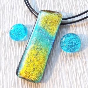 Kék-arany  ékszerszett, díszdobozban, ajándék névnapra, születésnapra., Ékszer, Medál, Ékszerszett, Fülbevaló, Ékszerkészítés, Üvegművészet, Fusing technikával készült, csúcsminőségű  arany-kék színű dichroic  üvegből olvasztottam. \nKérheted..., Meska