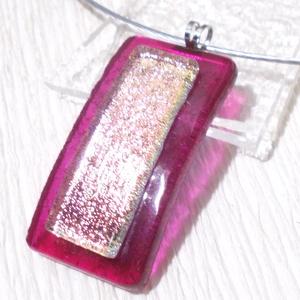 Málna rózsafénnyel nyaklánc, díszdobozba csomagolva, névnapra, születésnapra., Ékszer, Ékszerszett, Fülbevaló, Ékszerkészítés, Üvegművészet, Olvasztásos technikával készült trendi medál .\nCsúcsminőségű  sötét málna színű irizáló ékszerüvegbő..., Meska