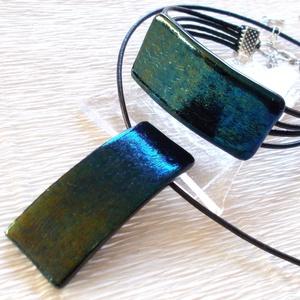 Smaragd kék-zöld fúzió ékszerszett , névnapra születésnapra., Ékszer, Ékszerszett, Ékszerkészítés, Üvegművészet, Fusing technikával készült hajlított medál, karkötő és fülbevaló\nKék, zöld színű dichroic üvegből ol..., Meska