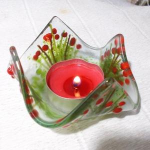 Virágos mécsestartó, ajándék karácsonyra., Gyertya & Gyertyatartó, Dekoráció, Otthon & Lakás, Ékszerkészítés, Üvegművészet, Olvasztásos technikával készült minőségi\náttetsző és színes üvegek felhasználásával.\nKiterítve 10 x ..., Meska