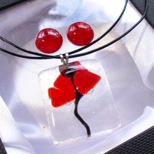 Pipacs jégkockában üvegékszerszett , nyaklánc és fülbevaló, ajándék óvónéniknek, tanító néniknek pedagógus napra. (Dittiffany) - Meska.hu