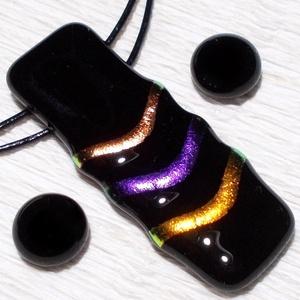 Feketén szivárvány, nyaklánc és fülbevaló,  mikulás csomagban. - Meska.hu