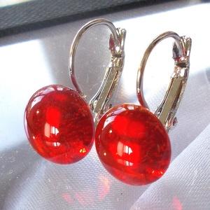 Piros ragyogás üveg fülbevaló, ajándék nőknek névnapra, születésnapra. , Ékszer, Fülbevaló, Medál, Táska, Divat & Szépség, Ékszerkészítés, Üvegművészet, Áttetsző piros színű minőségi ékszerüveg  felhasználásával készült, olvasztásos  technikával. \nA fül..., Meska