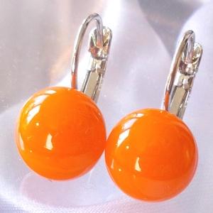 Narancs színű üveg fülbevaló, ajándék nőknek névnapra, születésnapra. , Ékszer, Fülbevaló, Medál, Táska, Divat & Szépség, Ékszerkészítés, Üvegművészet, Narancs színű minőségi ékszerüveg  felhasználásával készült, olvasztásos  technikával. \nA fülbevalóm..., Meska
