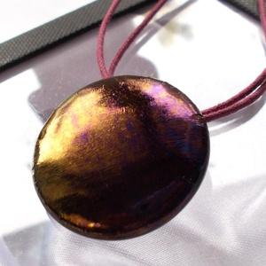 Bíbor-arany metál ragyogás medál, ajándék valentin napra, Ékszer, Fülbevaló, Nyaklánc, Medál, Fusing technikával készült, arany-bíbor fénnyel irizáló minőségi ékszerüvegből olvasztottam. Viaszol..., Meska