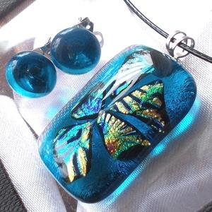 Tenger kincsei dichroic ékszerszett, ajándék mikulás csomagban., Ékszer, Ékszerszett, Medál, Fülbevaló, Ékszerkészítés, Üvegművészet, Fusing technikával készült, csúcsminőségű áttetsző kék és szivárványos dichroic  üvegből  olvasztott..., Meska