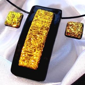 Fekete arany ékszerszett,  szalagavató bálra, ballagásra, névnapra, születésnapra., Ékszer, Ékszerszett, Fülbevaló, Karkötő, Ékszerkészítés, Üvegművészet, HÁRMAT FIZET NÉGYET KAP.\nHÁROM db. BÁRMILYEN SZETT VÁSÁRLÁSA ESETÉN, AZ AJÁNDÉKKOSÁRBAN LÉVŐ ÉKSZERE..., Meska