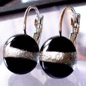 Fekete ezüst kapcsos fülbevaló, ajándék nőknek névnapra, születésnapra. , Ékszer, Fülbevaló, Lógó fülbevaló, Ékszerkészítés, Üvegművészet, Meska