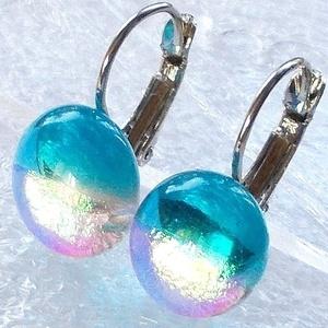 Mámorfelhő kapcsos fülbevaló, ajándék nőknek névnapra, születésnapra. , Ékszer, Fülbevaló, Lógós fülbevaló, Ékszerkészítés, Üvegművészet, Csúcsminőségű dichroic ékszerüveg  felhasználásával készült, olvasztásos  technikával. \nA fülbevalóm..., Meska