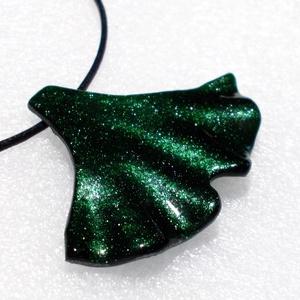 Smaragd aventurin ginkgo medál, ajándék  karácsonyra névnapra, születésnapra. - Meska.hu