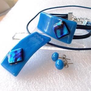 Egyiptomi kék ékszerszett, ajándék névnapra, születésnapra. karácsonyra díszdobozba csomagolva., Ékszer, Ékszerszett, Ékszerkészítés, Üvegművészet, Már ezt a formát m......design  másolja, medáljaim és karkötőim is!\nOlvasztásos technikával készült ..., Meska