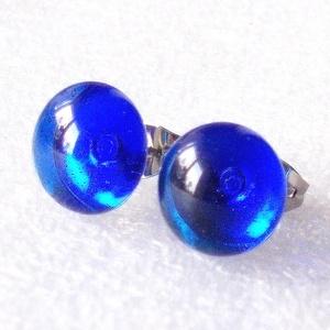 Karibi kék üveg fülbevaló, ajándék lányoknak, nőknek névnapra,születésnapra., Ékszer, Fülbevaló, Pötty fülbevaló, Ékszerkészítés, Üvegművészet, Karibi kék minőségi ékszerüveg  felhasználásával készült, olvasztásos  technikával. \nA fülbevalómére..., Meska