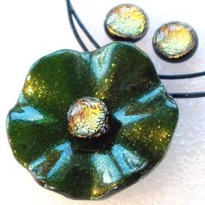 Arany-smaragd rózsa ékszerszett , ajándék Valentin napra, névnapra születésnapra., Ékszer, Ékszerszett, Ékszerkészítés, Üvegművészet, Meska