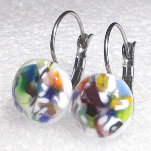 Színkavalkád fülbevaló, nemesacél alapon ajándék  névnapra, születésnapra., Ékszer, Fülbevaló, Lógós fülbevaló, Ékszerkészítés, Üvegművészet, Olvasztásos technikával készült  színes fülbevaló. Ez az ékszer mindenféle színű ruhához használható..., Meska