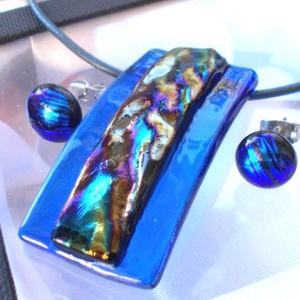 Hullámok-fények játéka, dichroic ékszerszett karácsonyra, névnapra, születésnapra., Ékszerszett, Ékszer, Ékszerkészítés, Üvegművészet, Olvasztási  technikával készült, csúcsminőségű  kék és szivárvány hullámos dichroic  üvegből  olvasz..., Meska
