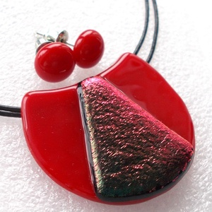 Piros színváltós hajlított ékszerszett ajándék névnapra, születésnapra., Ékszer, Ékszerszett, Ékszerkészítés, Üvegművészet, Meska