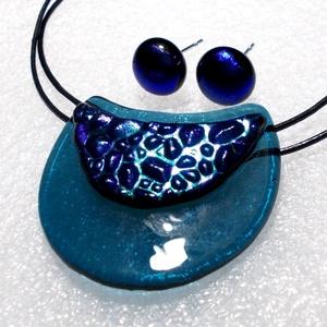 Zöld-kék hajlított ékszerszett ajándék névnapra, születésnapra., Ékszer, Ékszerszett, Ékszerkészítés, Üvegművészet, Csúcsminőségű tenger kék és mintás dichroic ékszerüvegből készült legújabb formájú hajlított ékszers..., Meska