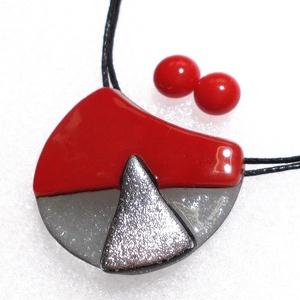 Piros-ezüst ékszerszett, ajándék névnapra, születésnapra., Ékszer, Ékszerszett, Ékszerkészítés, Üvegművészet, Meska