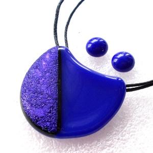 Kék zsorzsett ékszerszett ajándék névnapra, születésnapra., Ékszer, Ékszerszett, Ékszerkészítés, Üvegművészet, Meska