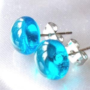 NEMESACÉL!  Kék ragyogás fülbevaló, ajándék névnapra, születésnapra., Ékszer, Fülbevaló, Pötty fülbevaló, Ékszerkészítés, Üvegművészet, Fusing technikával készült  csúcsminőségű ékszerüvegből.\nNemesacél alapra felragasztva.\nMérete 0,9 c..., Meska