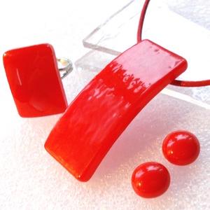 Hajlított piros ékszerszett, díszdobozba csomagolva., Ékszer, Ékszerszett, Ékszerkészítés, Üvegművészet, Meska