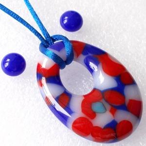 Kék-piros fúzió, fémmentes trendi ékszerszett, Ékszer, Nyaklánc, Medálos nyaklánc, Ékszerkészítés, Üvegművészet, Piros és kék ékszerüveg darabok felhasználásával készült ez a trendi formájú medál és fülbevaló.\nMed..., Meska
