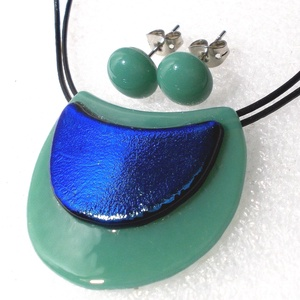 Zöld-kék hajlított ékszerszett ajándék névnapra, születésnapra., Ékszer, Ékszerszett, Ékszerkészítés, Üvegművészet, Meska
