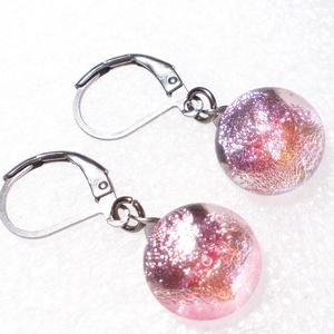 NEMESACÉL! Korall-rózsa  dichroic fülbevaló, ajándék nőknek névnapra, születésnapra. , Ékszer, Fülbevaló, Lógó fülbevaló, Ékszerkészítés, Üvegművészet, Meska