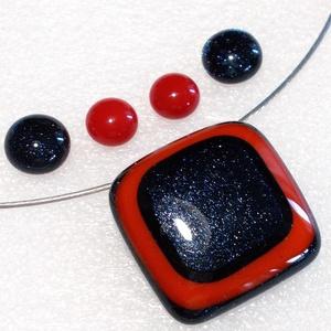 Piros a kékben ékszerszett, ajándék névnapra, születésnapra., Ékszer, Ékszerszett, Ékszerkészítés, Üvegművészet, Meska
