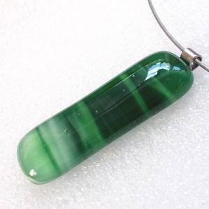 KÉSZLETKISÖPRÉS!  Zöld csíkos üvegmedál., Ékszer, Ékszerszett, Üvegművészet, Ékszerkészítés, Meska
