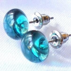 Sea blue fülbevaló, ajándék névnapra, születésnapra., Ékszer, Fülbevaló, Pötty fülbevaló, Ékszerkészítés, Üvegművészet, Meska