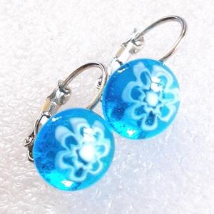 Kék csipke üveg fülbevaló, ajándék névnapra, születésnapra., Ékszer, Fülbevaló, Lógó fülbevaló, Ékszerkészítés, Üvegművészet, Meska